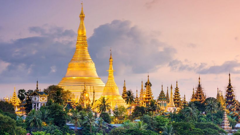 47356153 – yangon, myanmar view of shwedagon pagoda at dusk.